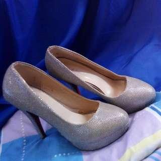 Ms. Crystal Silver High Heels