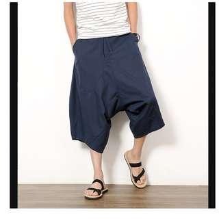 [全新] 男裝民族寬鬆棉麻七分褲