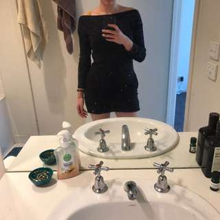 American Apparel Off The Shoulder Black Dress Size 10