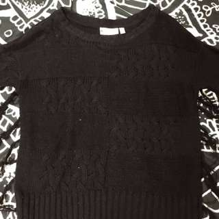 Black Fringed Crop Sweater Size Large