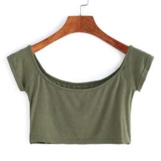 Green Off Shoulder Crop