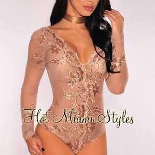 Rose Gold Bodysuit Sequin