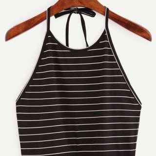 Black Striped Halter Crop
