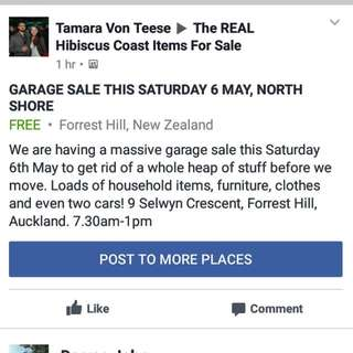 GARAGE SALE NORTH SHORE 6 MAY