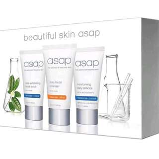 ASAP Beautiful Skin Pack Starter Travel Pack New  Daily Scrub, Gentle Cleanser Moisturise Defense Spf 50+ 50ml Authorised Stockist RRP $69