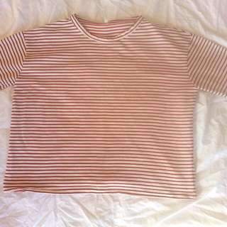 Korean Red And White Striped Top