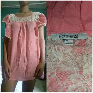 Forever21 Pink Lace Long Blouse