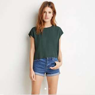 Forever21 Textured Woven Boxy Top