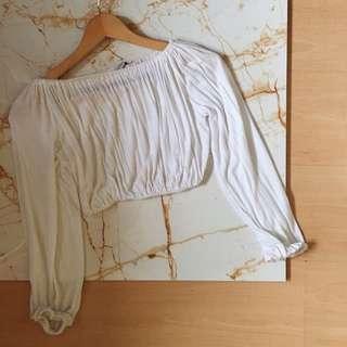 White Long Sleeves Off Shoulder