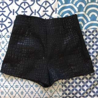 Printed Black High Waist Shorts
