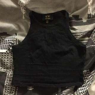 Black Singlet Crop Top