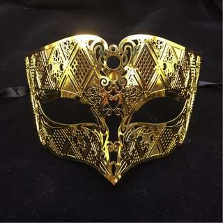 Men Metal Lace Laser Cut Masquerade Venetian Mask Gold