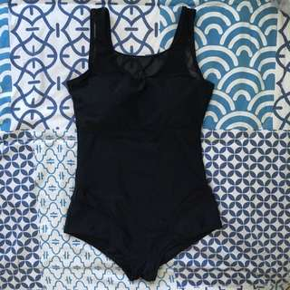 Black One Piece With Mesh Details