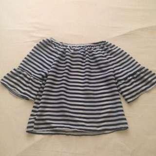 Stripes Off Shoulder Blouse