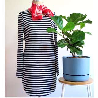 Navy & White Striped Dress