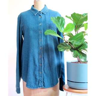 "ASOS ""Tall"" Denim Collared Shirt Size 10"