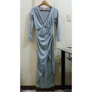 Gray Plunge Sexy Dress