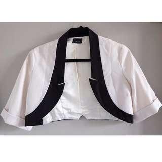 'Bardot' Crop Black White blazer