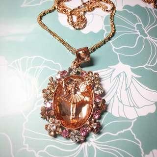 童話小仙女 花朵小精靈 蝴蝶水鑽 夢幻奧地利水晶項鍊 玫瑰金雙鍊 氣質時尚長鍊