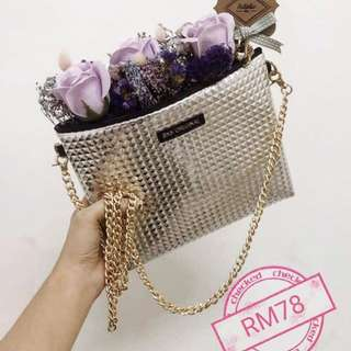 Customized Handmade Fragrance Roses With Sling Bag