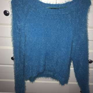 Fur Sweather Topshop In Blue