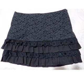 Authentic Grvice designer black lace ruffled skirt (#60)