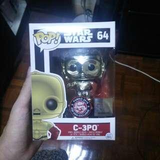 Exclusive Star Wars C3P0 Funko Pop (Metallic)