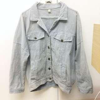 降價🚨燈芯絨寬袖外套 淺藍 單寧 水藍 排釦 夾克 #三百元外套