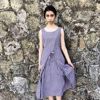 🌵薰衣草紫復古格紋綁帶無袖洋裝長裙A字裙 女款Vintage 古著