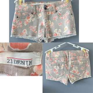 Forever 21 Denim Floral Shorts