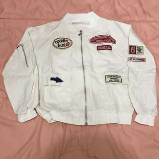 Bomber Jacket with Patch - White