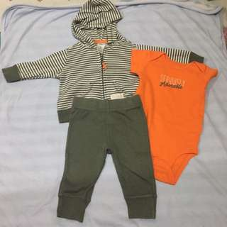Carters Onesie Hoodie and Pants Set