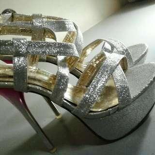 Silver Glittery Stilettos