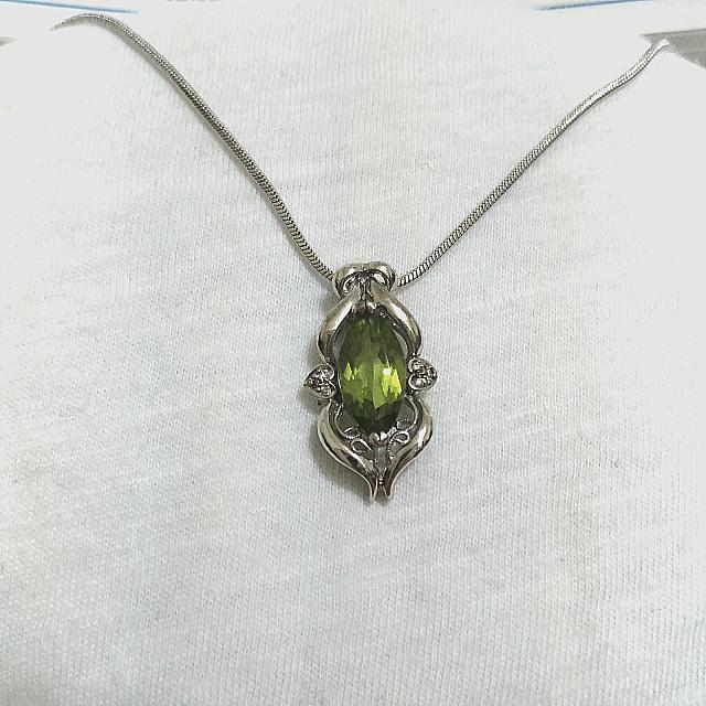 天然橄欖石鑽石項鍊