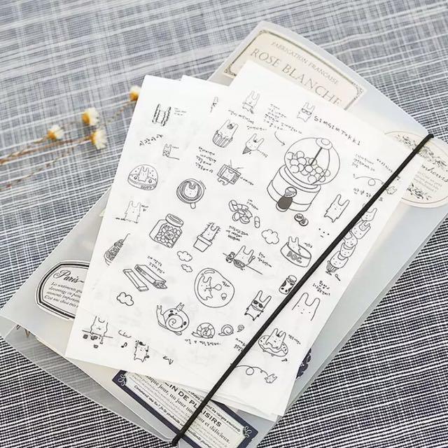 韓國黑白萌兔日記隨手貼紙