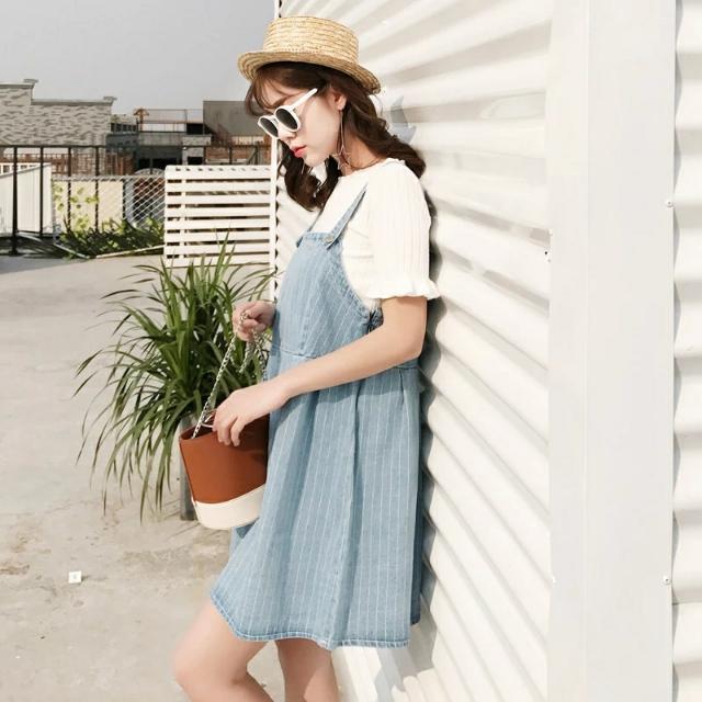 韓版學院風顯瘦條紋短款吊帶裙學生牛仔連身裙