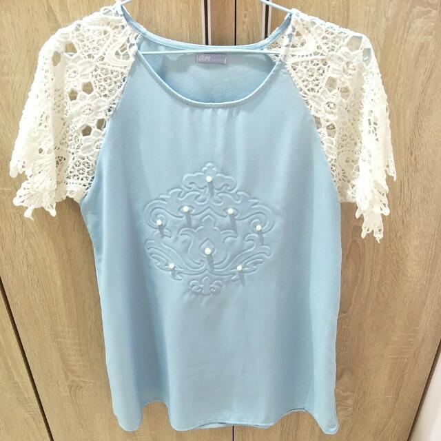 蕾絲袖水藍氣質短洋裝/長上衣