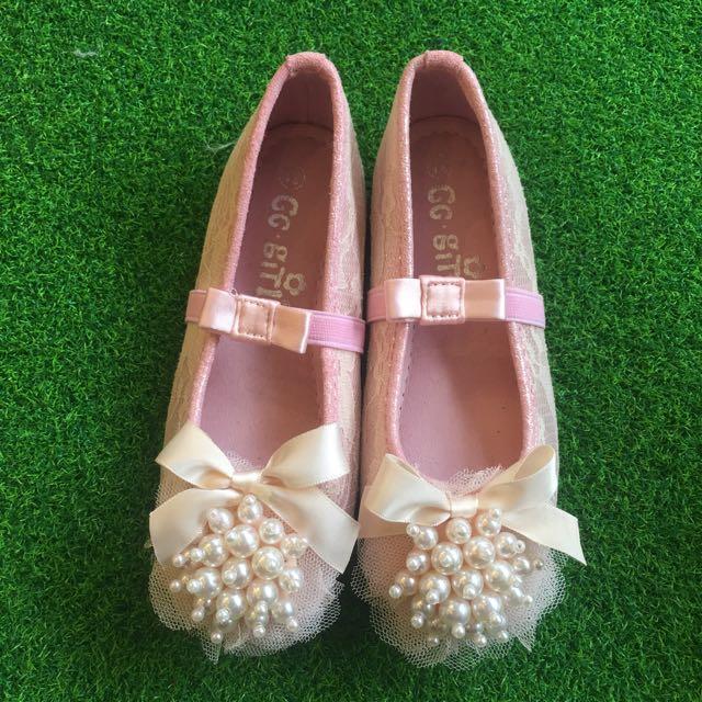 韓國珠珠蕾絲娃娃鞋