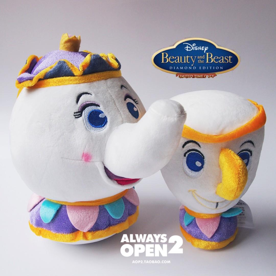 日本東京訂單美女和野獸茶壺太太和茶杯毛絨玩具