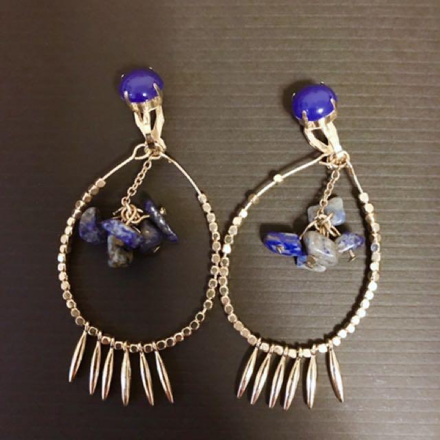 波希米亞風藍色石頭耳環🔥
