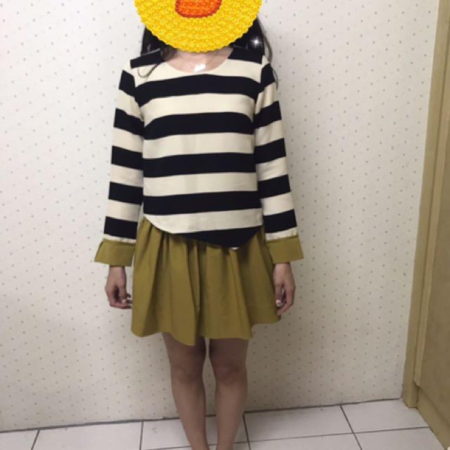 正韓 線條長袖洋裝
