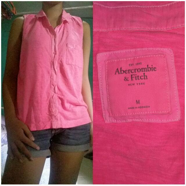 Abercrombie Sleevelees Polo Neon Pink