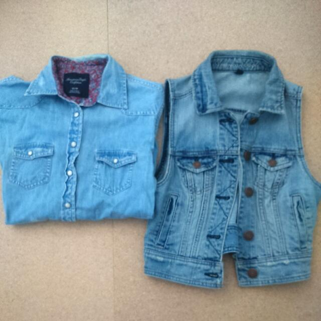American Eagle Demin Shirt And Cropped Vest
