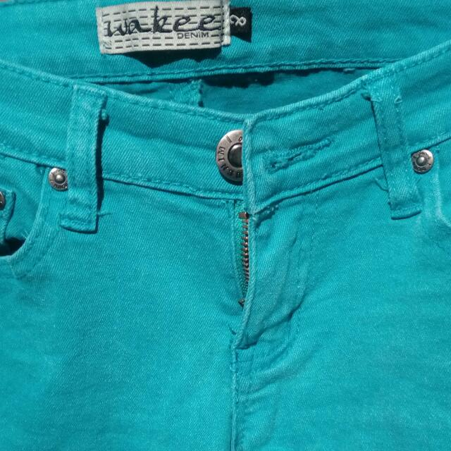 Aqua Coloured Skinny Leg Jeans