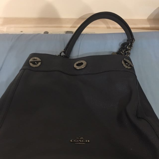 Authentic Coach Bag In Navy Blue