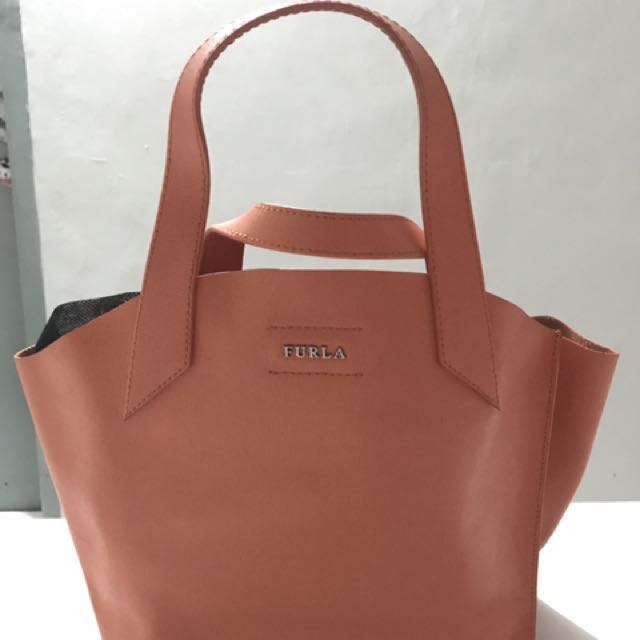 Authentic Furla Handbag - Orange Leather