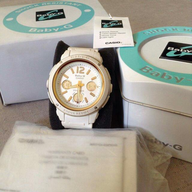 Authentic G Shock Casio White With Gold Accent Shock Resist 100m Water Resist LED Light