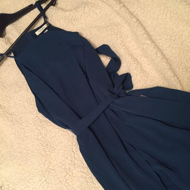 Avery Teal Waist Tie Dress