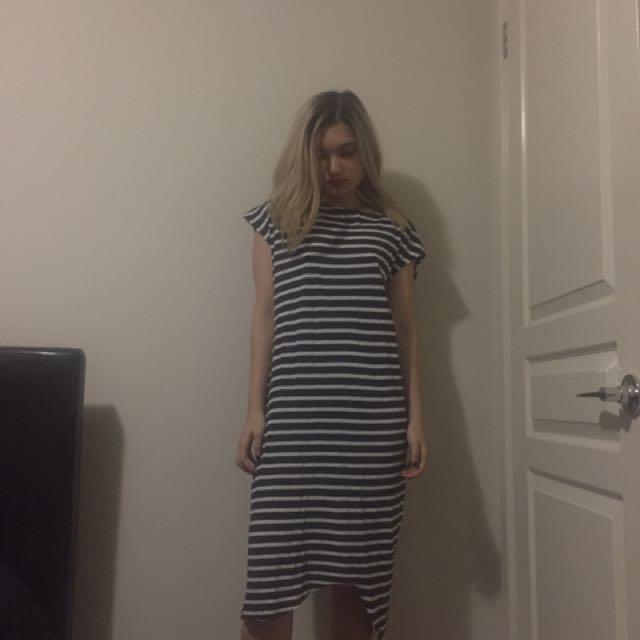 Bassike Striped Midi Dress