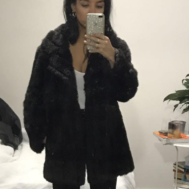 Black Faux Fur Coat Jacket